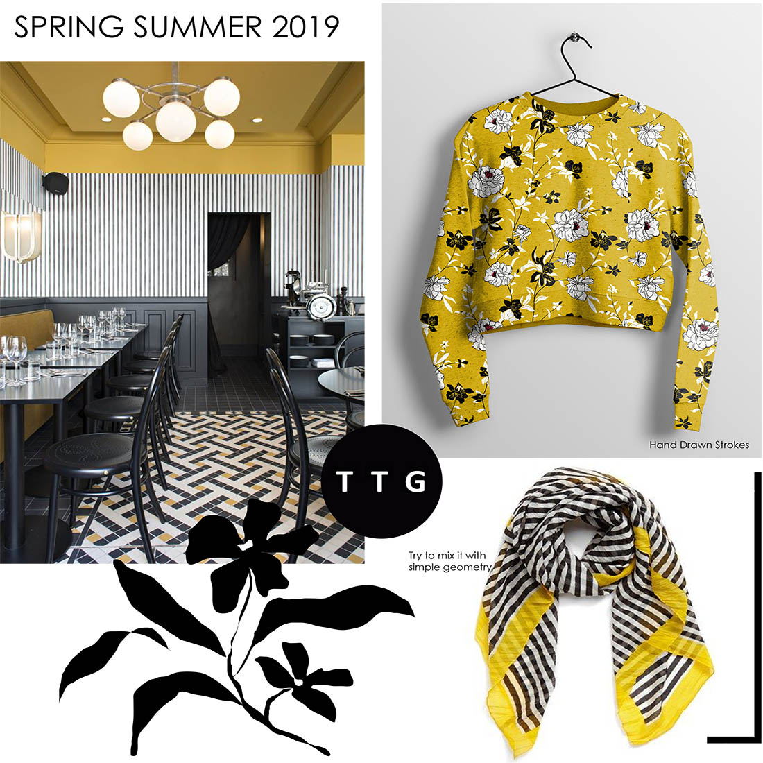 Spring Summer 2019 Colour Trend Mustard Yellow Black And White